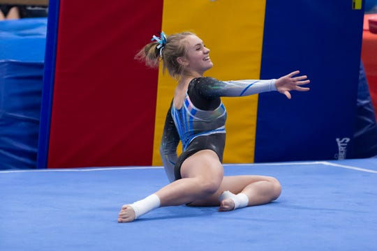 Farmington's Peyton Beals placed seventh on bars and fourth on beam in the regional meet.