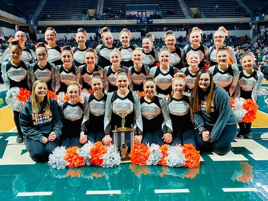 The Livonia Pompom team wins the Mid American Pompon division 1 state championship