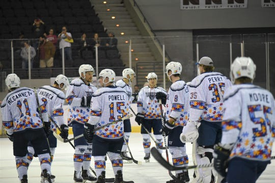 The Pensacola Ice Flyers don custom jerseys for Autism Awareness night on Saturday, March 7 against Fayetteville.