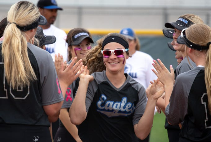 Sandra Day O'Connor infielder Riley Valentine is introduced, March 10, 2020, during a softball game at Hamilton High School, 3700 S Arizona Avenue, Chandler.