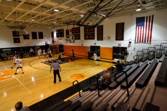 Marlboro and Hastings play during the Class B Regional Boys Basketball Semifinal on March 11, 2020. Due to coronavirus concerns the game was played without spectators.