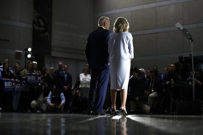 Democratic presidential candidate former Vice President Joe Biden, accompanied by his wife Jill, speaks to members of the press at the National Constitution Center in Philadelphia, Tuesday, March 10, 2020. Photo by Matt Rourke