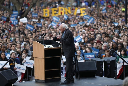 Democratic presidential candidate U.S. Sen. Bernie Sanders, I-Vt., speaks during a campaign rally at the University of Michigan in Ann Arbor, Mich., Sunday, March 8, 2020. Photo by Paul Sancya