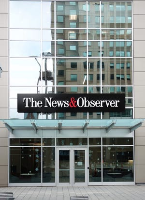 The Raleigh News & Observer newspaper offices on Fayetteville Street in downtown Raleigh, N.C. on Jan. 25, 2020. (Dreamstime/TNS)