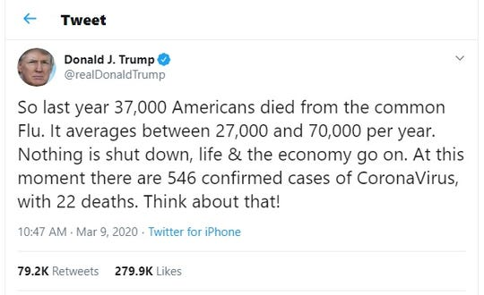 A tweet from President Donald Trump Monday, March 9, 2020