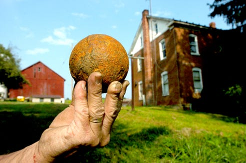 This cannonball was made at West Manheim's Mary Ann Furnace. The furnace site has not been found, although the township's Heritage Committee plans to continue to search for it.