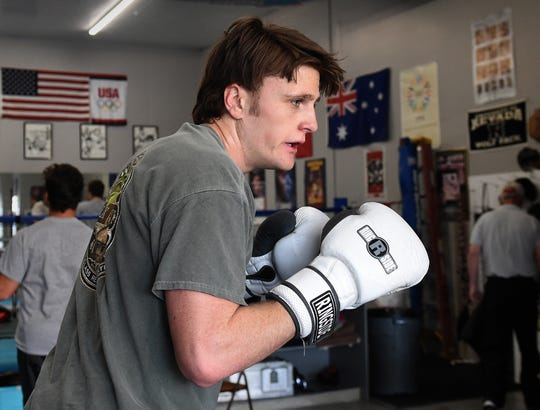 Nevada boxing club boxer Dan rich works out at the club gym on Tuesday as he gets ready to compete in the regionals this weekend.