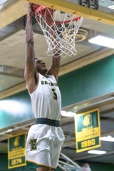 Junior forward Devante Hagins goes up for a jam. The Rochester Leadership product is averaging 8.9 points and team-leading 7.0 rebounds with 21 blocked shots for SUNY Brockport, which is riding a 19-game win streak and heading to NCAA Division III Sweet 16.