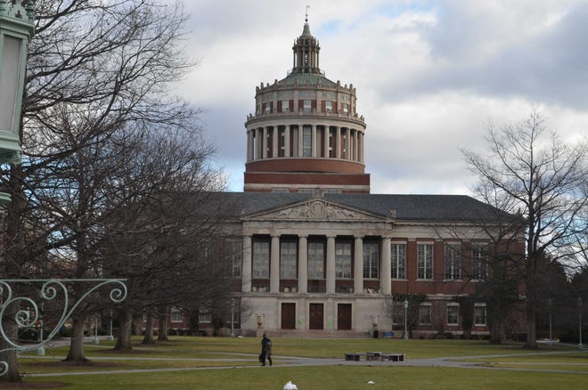 Rush Rhees library at the University of Rochester river campus.