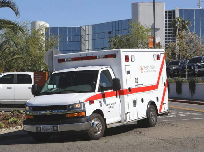 A Dignity Health mobile intensive care unit leaves Mercy Medical Center in Redding on Wednesday, March 11, 2020. Paramedics, law enforcement personnel and other first responders in the Redding area are considering the potential impact of coronavirus.