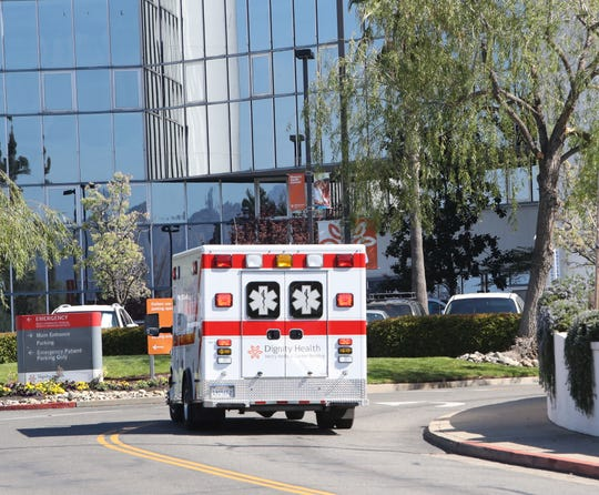 A Dignity Health mobile intensive care unit arrives at Mercy Medical Center in Redding on Wednesday, March 11, 2020. Paramedics, law enforcement personnel and other first responders in the Redding area are considering the potential impact of coronavirus in their line of duty.