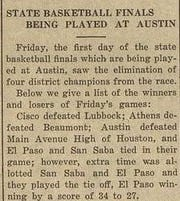 A screen shot of a portion of the Lampasas (Texas) Leader obtained through the Portal To Texas History Digital Publications Archive. The item mentions the eight teams that played at the 1928 UIL State Basketball Tournament, which included San Saba High School, a 34-27 overtime loser to El Paso High School.