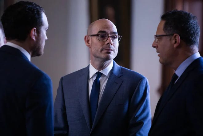 Speaker Dennis Bonnen in the House Chamber on March 27, 2019, the day the House will take up HB1, the 2020-21 budget plan.8