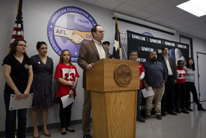 Texas AFL-CIO President Richard Levy called for mandatory paid sick leave for workers at a press conference Tuesday.