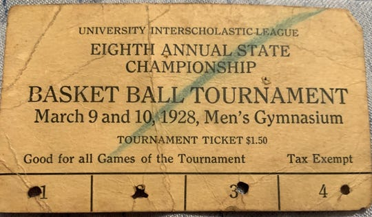 A used ticket from the 1928 University Interscholastic League's Eighth Annual State Championship Basketball Tournament found in family records of San Saba's Risien Shahan, who will be playing with the Armadillos Friday in the UIL State Tournament Class 2A semifinals. Shahan's great grandfather Winston Millican played on San Saba's team in 1928.