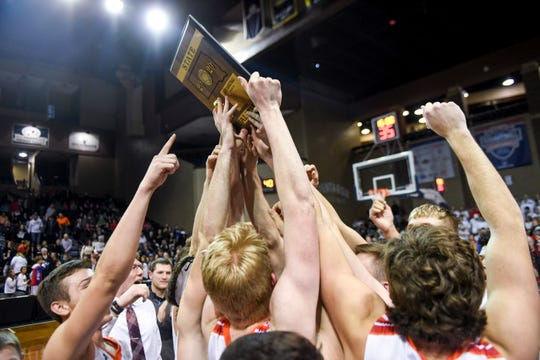 Viborg-Hurley advances to state after defeating Elkton-Lake Benton on Tuesday, March 10, 2020 at the Sanford Pentagon. The final score of the game was 63-40.
