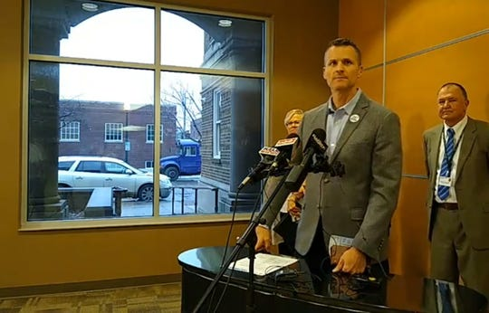 Sioux Falls Mayor Paul TenHaken speaks about how the city is responding Tuesday on the concourse of Sioux Falls Health Department, following the the confirmation of the first presumptive case of coronavirus found in Minnehaha County.