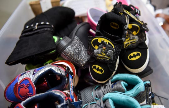 Shoes of all sizes are donated in honor of Jaren Fountain by the Orthopedic Institute, Sioux Falls Specialty Hospital and Paradigm on Tuesday, March 10, 2020 at the Children's Home Society. Jaren Fountain was killed in a car crash nearly a month ago and was known for his love of shoes.