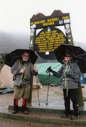 Carol and Jim Otremba pose for a photo at Lava Tower during an early 2020 trip to Mount Kilimanjaro