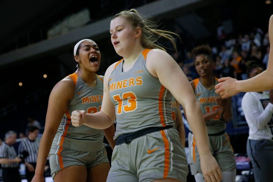 UTEP's Sabine Lipe takes the court for the game against Florida Atlantic Wednesday March, 11, in the first round of Conference USA games in Frisco, Texas.