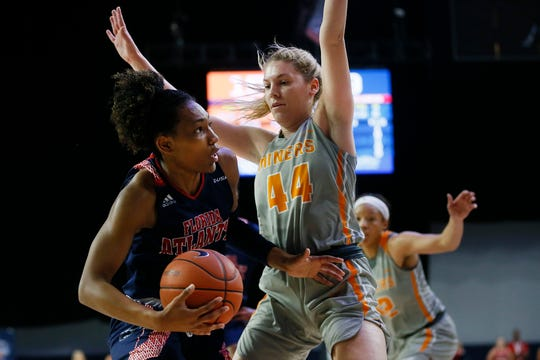 UTEP's Katrina Zec during the game against Florida Atlantic Wednesday March, 11, in the first round of Conference USA games in Frisco, Texas.
