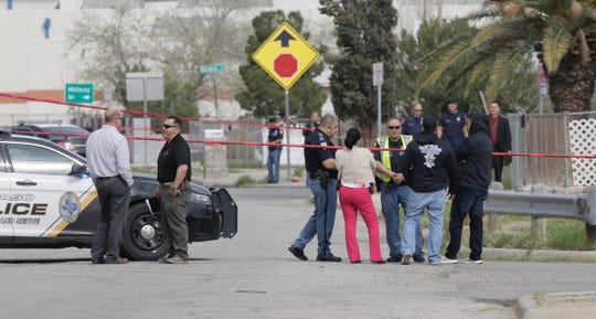 El Paso police investigate at the scene of an officer-involved shooting Wednesday, March 11, 2020, on Hockey Street in the Lower Valley.