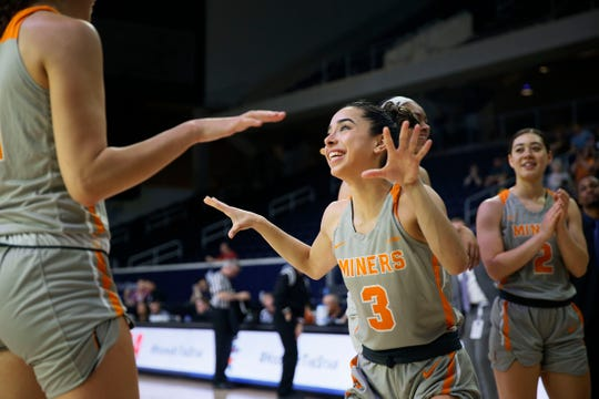 UTEP's Katia Gallegos takes the court for the game against Florida Atlantic Wednesday March, 11, in the first round of Conference USA games in Frisco, Texas.
