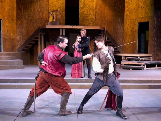 "In the background, Abby Holland plays Juliet and Seth Gunawardena plays Romeo watching Jazz Johnson as Tybalt and Ian Bowers as Mercutio in Moorpark College Theatre Arts' production of ""Romeo and Juliet,"" which opens March 12."