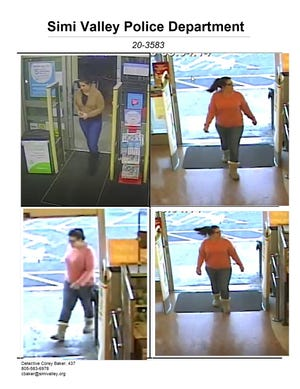 The suspect depicted in these surveillance images is accused of using a victim's credit card to make cash withdrawals at various retailers in Simi Valley and the San Fernando Valley.