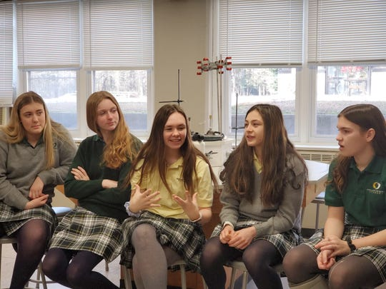 OLMA students (from left) Emily Bansky of Swedesboro, Sarah Decker of East Greenwich, Katie Kelly of Newfield, Gianna Pacilio of Franklinville and Madison Myers of Pitman share their thoughts during a Sister Speak session at Our Lady of Mercy Academy in Newfield.