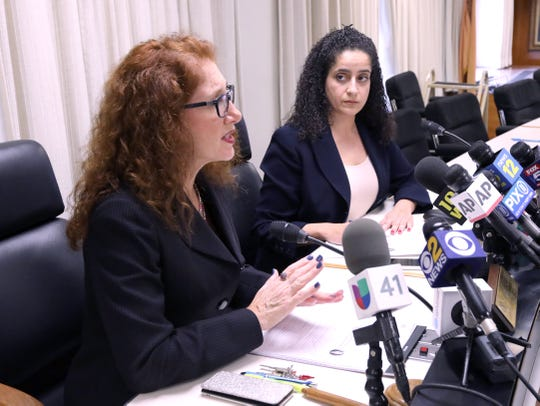 New Rochelle Schools Superintendent Laura Feijoo, left, and Board President Amy Moselhi speak at a press conference at New Rochelle City Hall March 10, 2020.