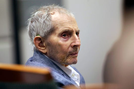 Real estate heir Robert Durst looks over during his murder trial in Los Angeles, Tuesday, March 10, 2020. Durst is on trial in the 2000 killing of Susan Berman.