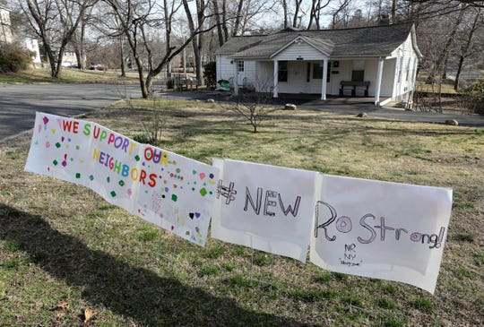 A We Support Our Neighbors, #NewRoStrong sign outside of the New Rochelle Girl Scout House on North Avenue in New Rochelle, March 11, 2020.