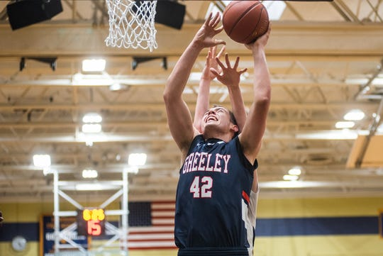 Horace Greeley's Nick Townsend shoots during the Class AA state quarterfinal basketball game at Newburgh Free Academy in Newburgh, New York, March 11, 2020.