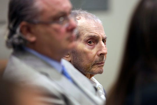 Real estate heir Robert Durst sits during his murder trial in Los Angeles, Tuesday, March 10, 2020.  Durst is on trial in the 2000 killing of Susan Berman.