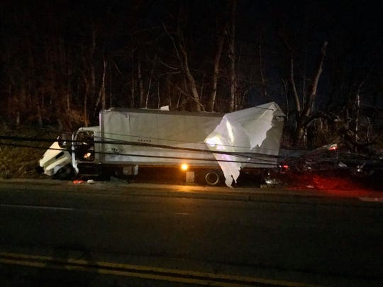 A truck crash closed Route 9 in Ossining on March 11, 2020.