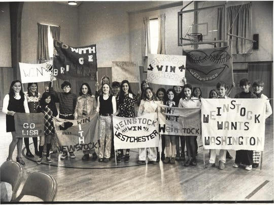So excited to have a local contestant involved in regional contest, Lisa Weinstock's classmates from Increase Miller School made signs to cheer her on in the Westchester bee in 1975. Her victory in Westchester earned her a seat in the 1975 National Spelling Bee.