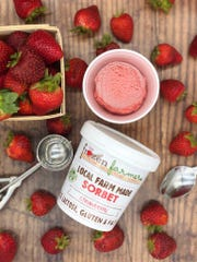 The Frozen Farmer's strawberry sorbet is made with strawberries grown at Evans Farm in Bridgeville.