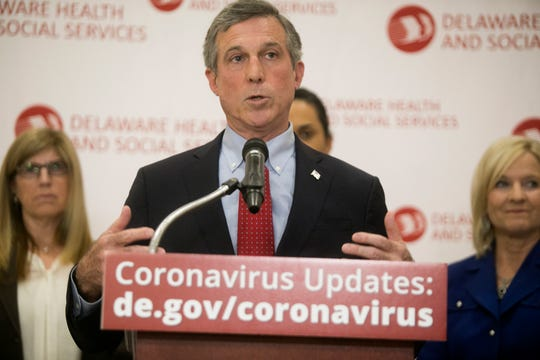 Delaware Governor John Carney speaks during a press conference on the first positive case of coronavirus in Delaware Wednesday at the Carvel State Building.