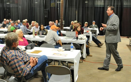 Texas Department of Agriculture, assistant commissioner for rural affairs, Dan Hunter, spoke to a medium-sized crowd, Wednesday morning, about producing hemp products during a seminar held at the Ranch and Farm Show.