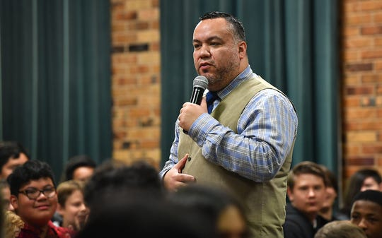 Fabian Ramirez, a youth motivational speaker from Washington D.C., spoke to students at Barwise Middle School about the effects of and alternatives to bullying.