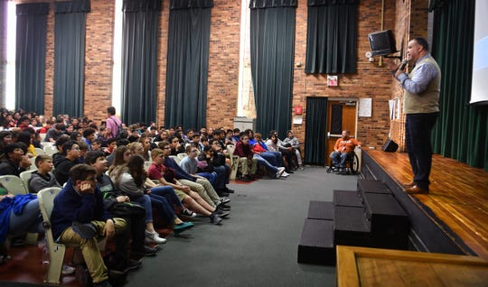 Communities in Schools of Greater Wichita Falls brought in youth motivational speaker Fabian Ramirez to share his message of anti-bullying with students of Barwise Middle School.