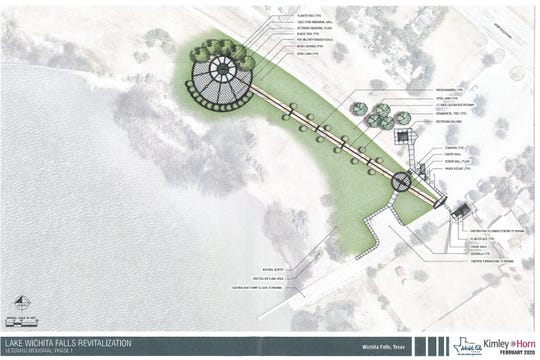 The Lake Wichita Revitalization Committee received a Phase 1 rendering of a possible design for the veterans memorial plaza from Kimley Horn architectural group.