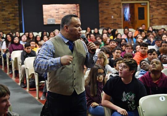 Youth motivational speaker Fabian Ramirez talks about bullying and dealing with emotions during his visit to Barwise Middle School Wednesday.