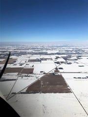 Fields of corn in eastern North Dakota waiting for harvest.
