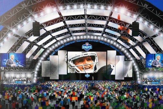 Artist rendering of the 2020 NFL Draft viewing zone in Las Vegas in front of the High Roller observation wheel.