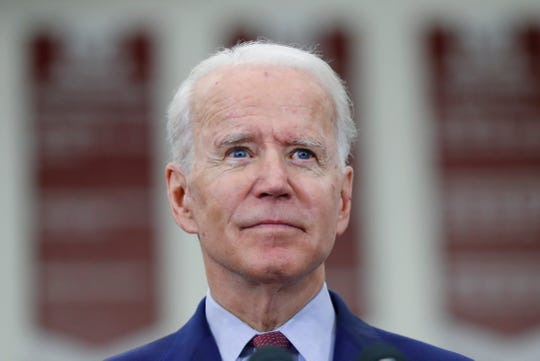 Democratic presidential candidate former Vice President Joe Biden speaks during a campaign rally at Renaissance High School in Detroit, Monday, March 9, 2020. (AP Photo/Paul Sancya) ORG XMIT: MIPS112