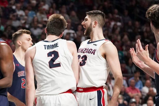 Gonzaga Bulldogs forward Killian Tillie (33) congratulates forward Drew Timme (2) during the game against the Saint Mary's Gaels.