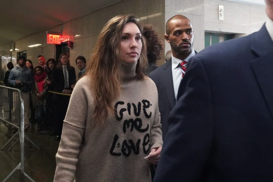 Jessica Mann, one of Harvey Weinstein's victims, arrives for his sentencing at Manhattan Criminal Court on March 11, 2020, in New York.