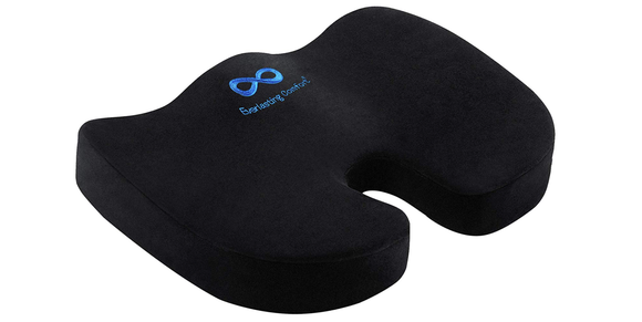 This memory foam-filled cushion can give you some much-needed support.